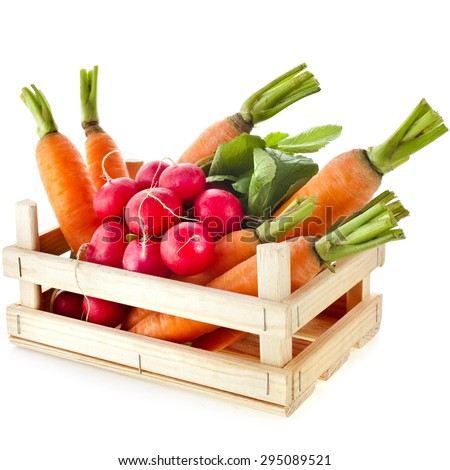 fresh vegetable,  radish, carrots in wooden crate box isolated on white background - stock photo