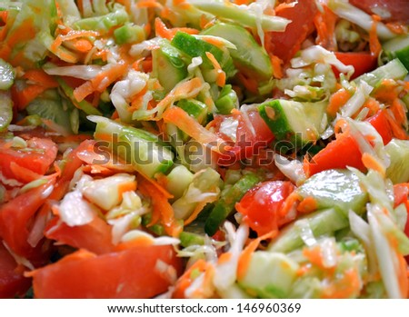 Fresh vegetable salad closeup