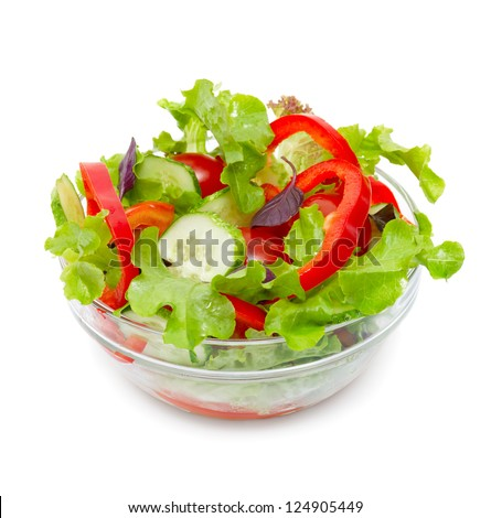 Fresh vegetable salad isolated on white - stock photo