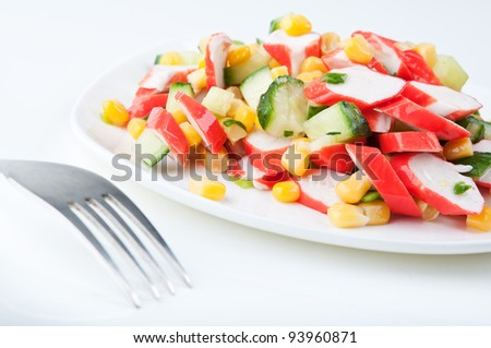 fresh vegetable salad on a white plate - stock photo