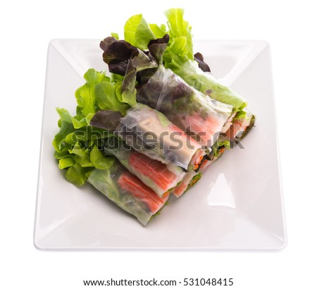 Fresh vegetable salad roll in noodle tube on dish isolated on white background