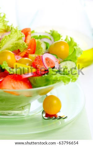 Fresh vegetable salad (tomato, peppers, cucumber, onion) - stock photo