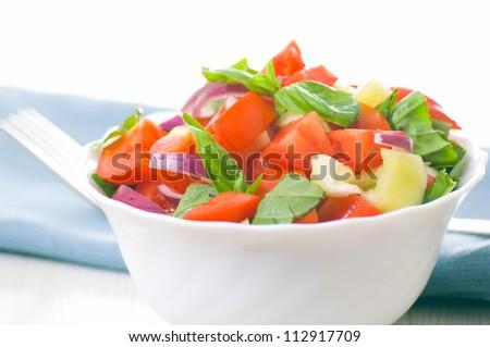 fresh vegetable salad with basil - stock photo