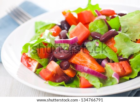 fresh vegetable salad with beans - stock photo