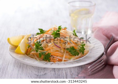 Fresh vegetable salad with cabbage kohlrabi, carrots, red onions, parsley  and vinaigrette dressing, selective focus - stock photo