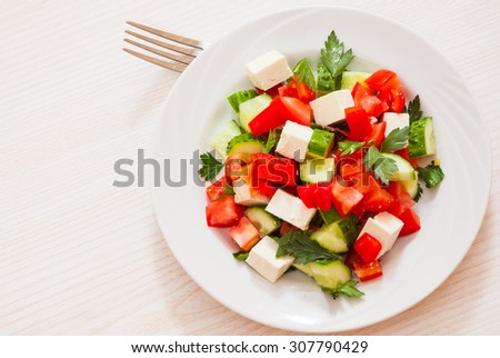 fresh vegetable salad with cheese - stock photo