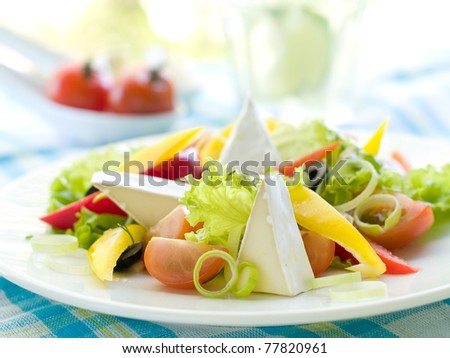 Fresh vegetable salad with cheese. Shallow depth, selective focus - stock photo