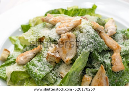 Fresh vegetable salad with chicken meet