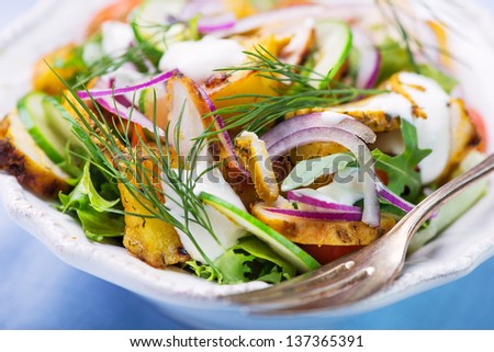 Fresh vegetable salad with grilled chicken and roasted potatoes - stock photo
