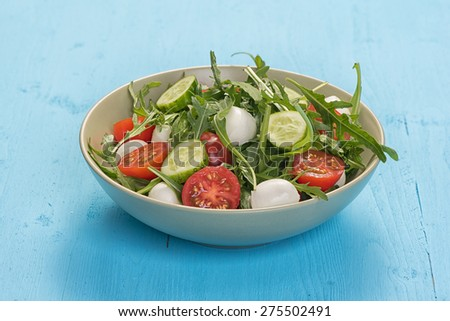 fresh vegetable salad with mozzarella and arugula on a plate - stock photo
