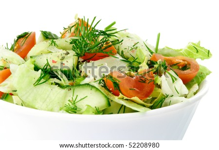 Fresh Vegetable Salad With Tomato Lettuce Cuber