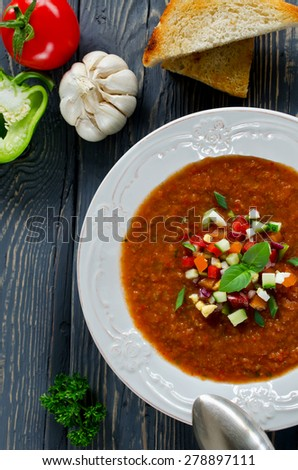 Fresh vegetable soup Gazpacho on the table. Top view - stock photo