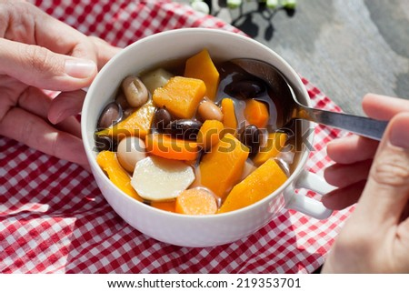 Fresh vegetable soup made  - stock photo