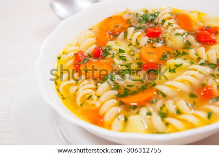 Fresh vegetable soup with pasta