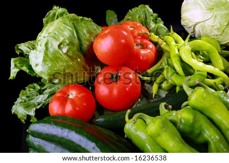 Fresh vegetable variety, water droplets visible - stock photo