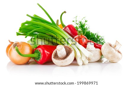 Fresh vegetable with greens. Isolated on white background - stock photo