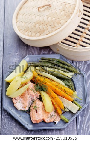 fresh vegetables and fish - food and drink - stock photo