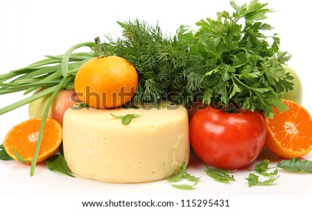 Fresh vegetables and fruit for a healthy feed