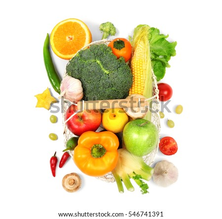 Fresh vegetables and fruits  in basket on white background