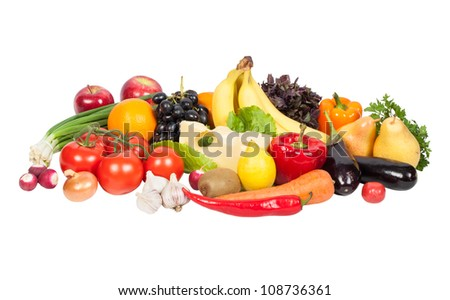 Fresh vegetables and fruits isolated on white - stock photo