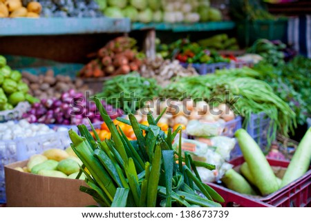 Fresh vegetables and fruits on asian market