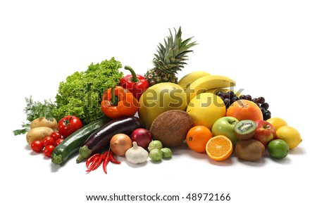 Fresh vegetables and fruits on white - stock photo