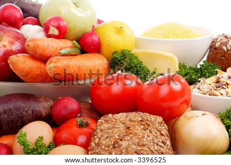 Fresh Vegetables and Fruits. Shot in a studio. - stock photo
