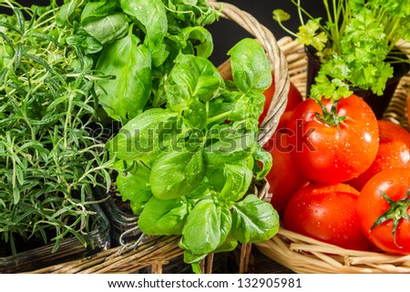Fresh vegetables and herbs in a basket - stock photo