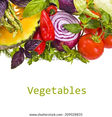 fresh vegetables and herbs isolated on a white background with sample text - stock photo