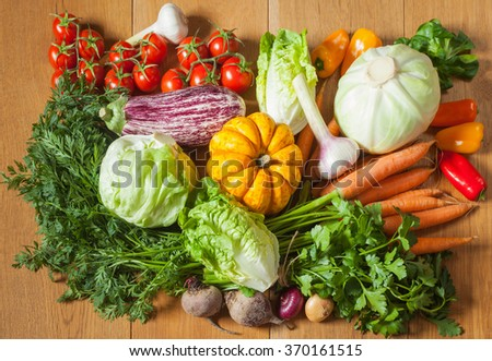 Fresh vegetables and herbs: lettuce, cabbage, pumpkin, tomatoes, peppers, eggplant, carrots, beets, onions, garlic, parsley on the wooden background; horizontal - stock photo