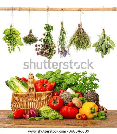 Fresh vegetables and herbs on white background. Healthy food concept - stock photo