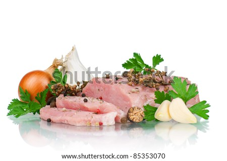 Fresh vegetables and meat on white background
