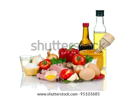 Fresh vegetables and meat on white background - stock photo