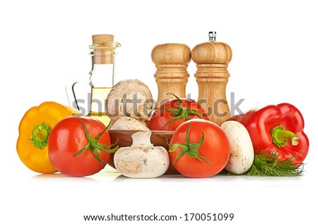 Fresh vegetables and mushrooms - stock photo