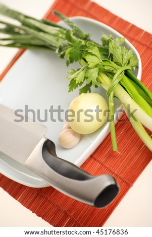 Fresh Vegetables and other foodstuffs. Shot in a studio.