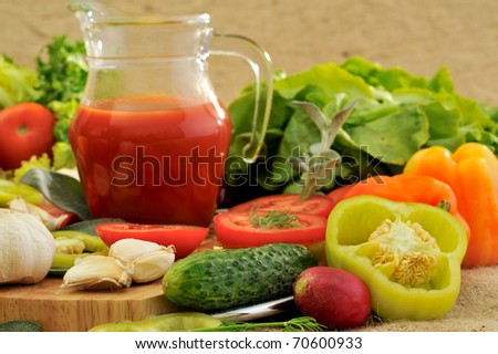 fresh vegetables and tomato juice