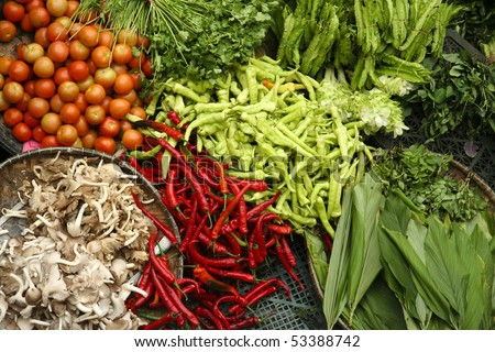 fresh vegetables at market in kota baru malaysia - stock photo