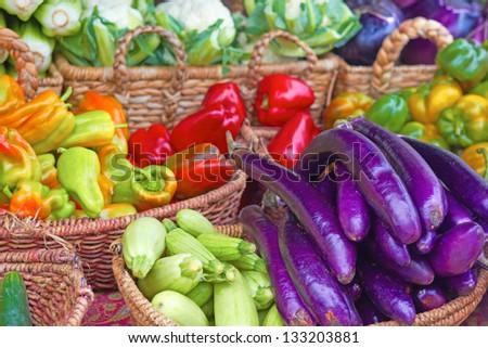 Fresh vegetables at the farmer's market for sale. Horizontal shot. - stock photo