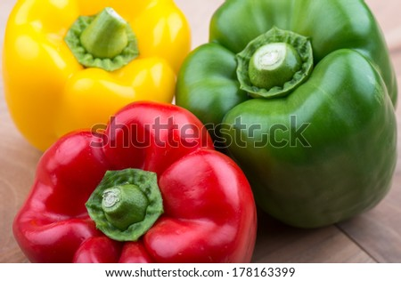 Fresh vegetables - Bell Peppers Red Green and yellow bell peppers  - stock photo