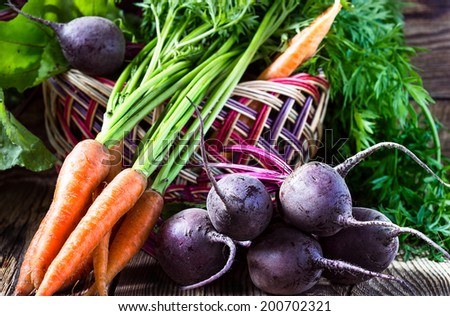 Fresh vegetables carrots, beetroots on  wooden background. Harvest still life - stock photo