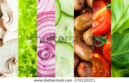 Fresh vegetables collage background with vertical bands containing sliced mushrooms, lettuce, onion, cucumber, olives, tomato and basil or baby spinach leaves for healthy vegetarian and vegan cuisine - stock photo