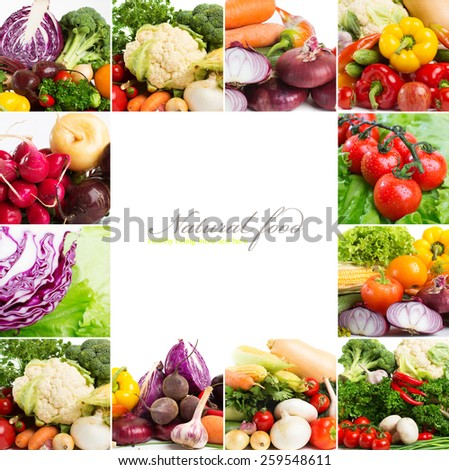 fresh vegetables - collage isolated on a white background - stock photo