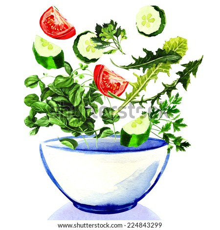 Fresh vegetables falling into bowl of salad - stock photo