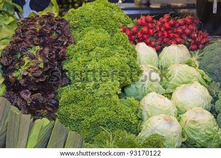 fresh vegetables food market - stock photo