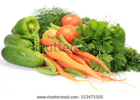 Fresh vegetables for a dietary feed  - stock photo