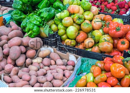 Fresh vegetables for sale at a market - stock photo