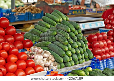 Fresh vegetables for sale on farmers market - stock photo