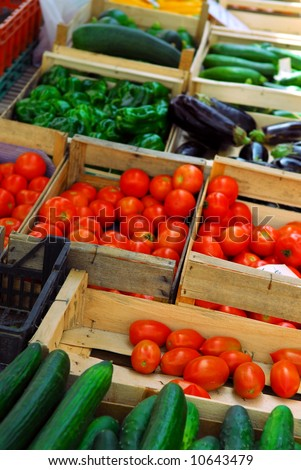 Fresh vegetables for sale on french farmers market in Perigueux, France - stock photo