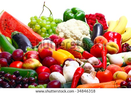 Fresh Vegetables, Fruits and other foodstuffs on white - stock photo