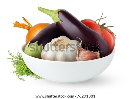 Fresh vegetables in a bowl isolated on white - stock photo